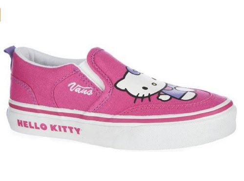 Vans Kids's VANS ASHER (HELLO KITTY) MS SKATE SHOES 4 Kids US (MAGENTA/WHITE)