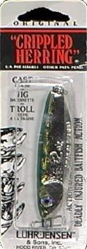 - South Bend Sporting Goods Luhr Jensen Crippled Herring Lure, Nickel/Neon Green Back, 2-Inch