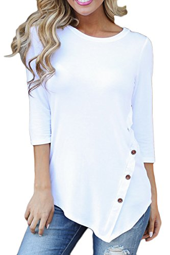 Prograce Womens Scoop Neck Asymmterial Trim Hem Tunic Tops with Button XL (White Boot Tops)