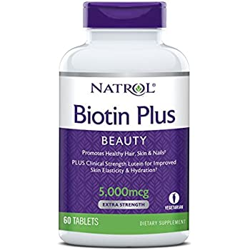 Natrol Biotin Plus Lutein Tablets, 5,000mcg, 60 Count
