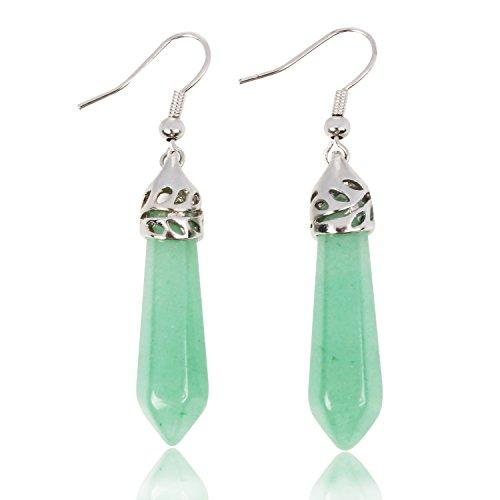 KISSPAT Real Natural Green Aventurine Stone Earrings Healing Point Quartz Earrings