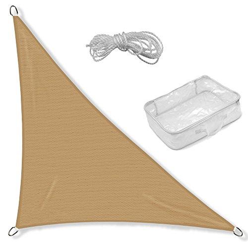 CelinaSun 0011666 Sonnensegel Sonnenschutz Garten | UV Schutz wetterbeständig HDPE atmungsaktiv | Dreieck rechtwinklig 4 x 4 x 5,65 m sand-beige
