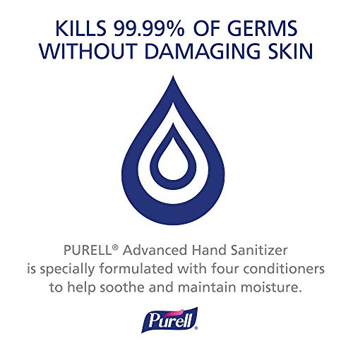PURELL Advanced Hand Sanitizer, Refreshing Gel, 8 fl oz Hand Sanitizer Counter Top Pump Bottles (Case of 12) – 9652-12