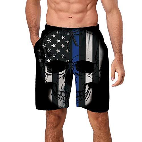Enlifety Fashion Short Mens Swim Trunks Boardshorts Black Skull Quick Dry Swimwear with Mesh Lining Pockets ()