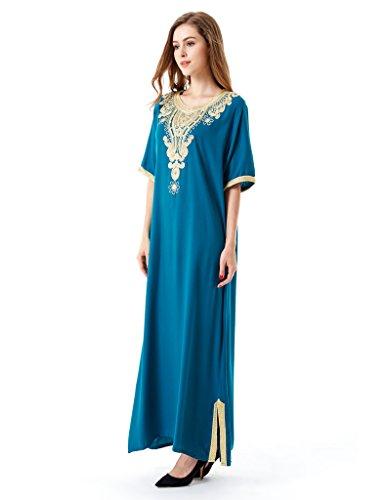 14 Da Musulmane Musulmana kaftan Abbigliamento Donne Abito Sera Abaya Jalabiya Sposa Gonna Verde Parte Lunga Lf islam Caftan 5Sqapq