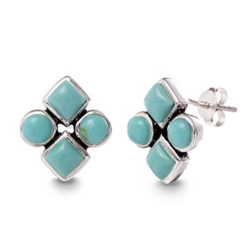 Willowbird Sterling Silver Diamond Shaped Simulated Turquoise Stud Earrings for Women