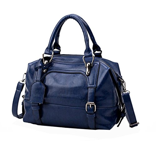 Summer handbag soft leather handbag fashion atmospheric single shoulder Messenger bag,GINELO (blue)