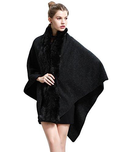 Wincolor Women's Winter Cashmere Pashmina Puncho Shawl Capes Wraps with Faux Fur Trim - Fur Trim Scarf