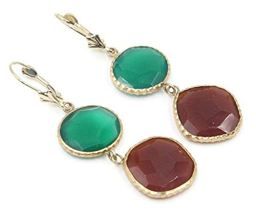 Onyx Green and Carnelian Fancy Earrings 14k Yellow Gold Leverbacks (14k Carnelian Earrings)