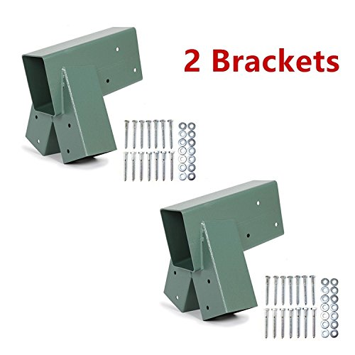 Price comparison product image ECOTRIC Easy Install 1-2-3 Heavy Duty Steel A-Frame Swing Set Mounting Bracket Green, All Hardware Include (2 Brackets)