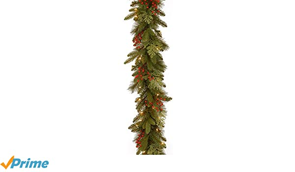 PECC3-300-9B-1 Renewed National Tree 9 Foot by 12 Inch Feel Real Classical Collection Garland with Cedar Leaves Red Berries and 100 Clear Lights