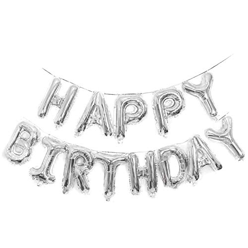 Birthday Balloon Silver (Qivange Happy Birthday Balloons 16 Inch Hanging Alphabet Foil Happy Birthday Banner Mylar Balloon for Party Decoration, Silver)