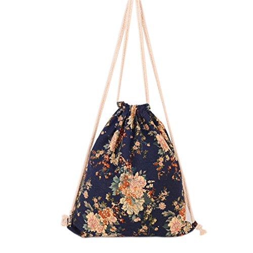 HITOP Ursprüngliche Harajuku Mode Rucksack Leinwand Blumen Menschen Umhängetasche Freizeit Kordelzug Reise Kordel Tasche