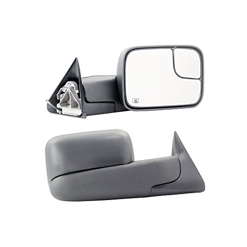 Make Auto Parts Manufacturing - Passenger/Right Side Power Heated Manual Folding Flip-Up Towing Mirrors for Dodge Ram 1500 2500 3500 Pickup Truck (Ram 1500 Towing)