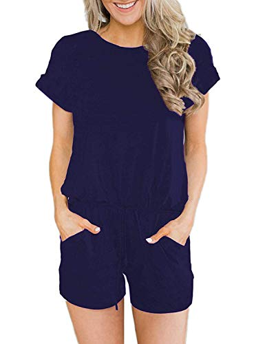 (Swiland Short Sleeve Casual Summer Jumpsuit for Women Loose Jumpsuit Rompers with Pockets Elastic Waist Playsuit Navy,S)