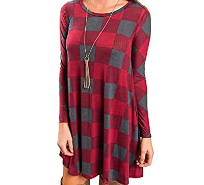 Boloren Womens Plaid Shirt Mini Dress With Pocket Long Sleeve Round Neck Casual Loose Long Stripe Top