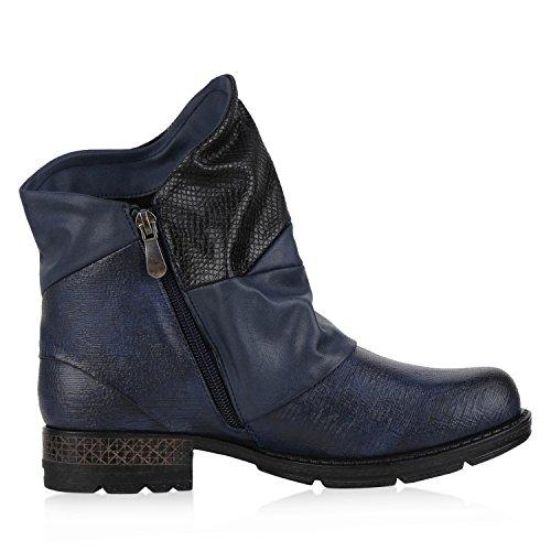 napoli-fashion - botas estilo motero Mujer azul oscuro