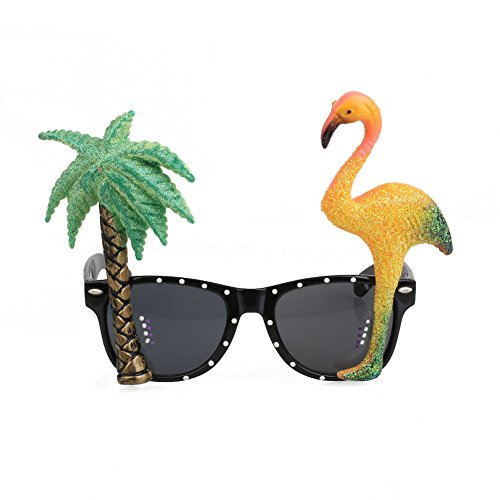 KICODE Flamingo And Palm Tree Hawaiian Sunglasses Tropical Glasses Holiday Decorations Beach Party For Teenagers Adult Summer Party