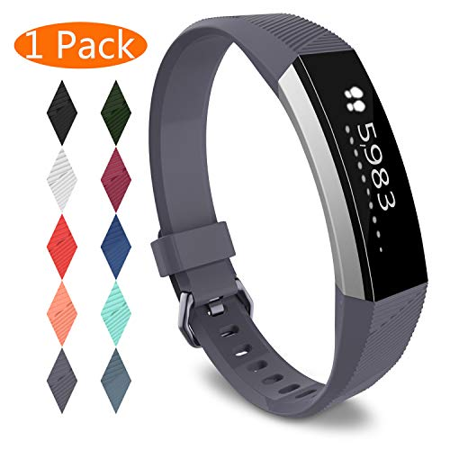 KingAcc Compatible Replacement Bands for Fitbit Alta HR, Fitbit Alta, Silicone Fitbit Alta HR Band Alta Band, Buckle Wristband Strap Women Men (1-Pack, Gray, Small)