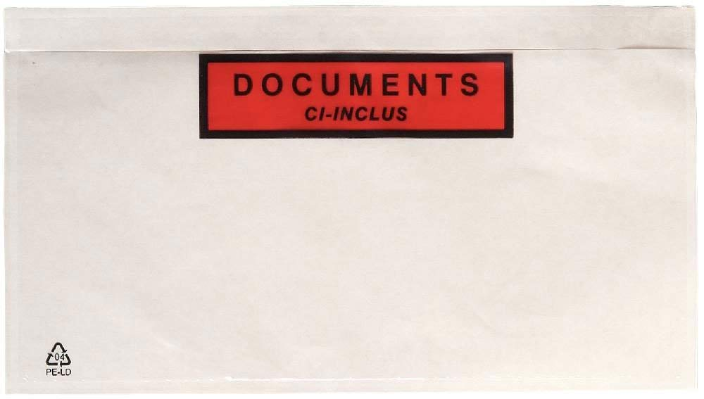 Pochette collante pour insertion des documents A4 pli/é en 2 Pochette d/'Exp/édition autocollante pour petit colis 255 x 165 mm Pochette A5 porte-documents adh/ésives transparente