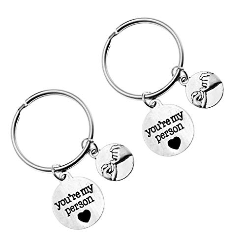 PESOENTH 2pc Silver Couples Keychains Him and Her Pinky Promise Charm You're My Person Keychain BBF Best Friend Key Rings Car Key Fob Boyfriend Grilfriend Gifts