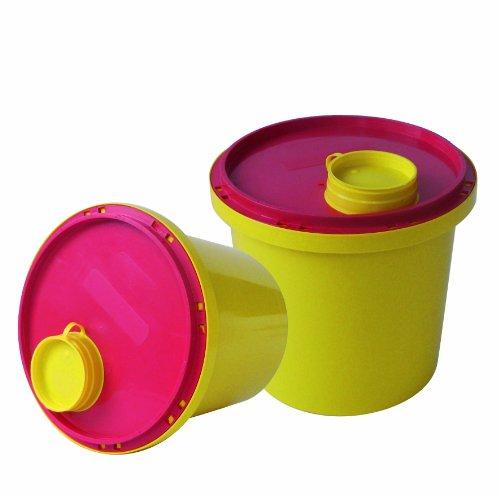 Kanülen Abwurfbehälter 2Ltr. Kanülenbox 5er Set (=5Stück) Entsorgungsbox Kanülenabwurfbehälter Tiga-Med