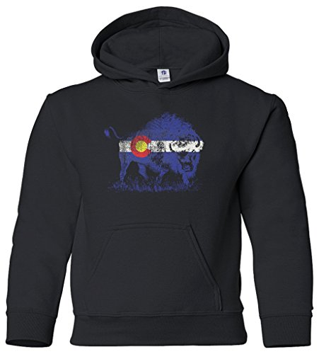 - Threadrock Kids Buffalo Colorado Flag Youth Hoodie Sweatshirt L Black