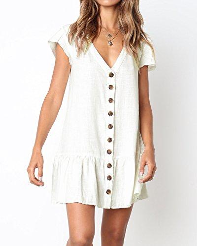 88d3ecd702e Saodimallsu Womens Ruffles Short Sleeve Button Down Loose Dresses Casual V  Neck Tunic T-Shirt