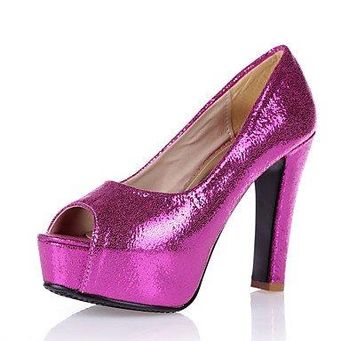 Talones de las mujeres Primavera Verano Otoño zapatos del club de boda sintético Fiesta y vestido de noche gruesos del talón de lentejuelas de plata azul del rosa de oro rosa Rose Pink