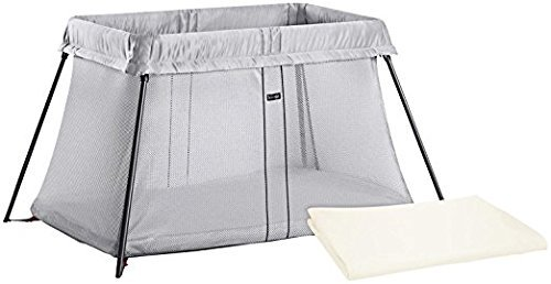BABYBJORN Travel Crib Light - Silver and Fitted Sheet Bundle Pack