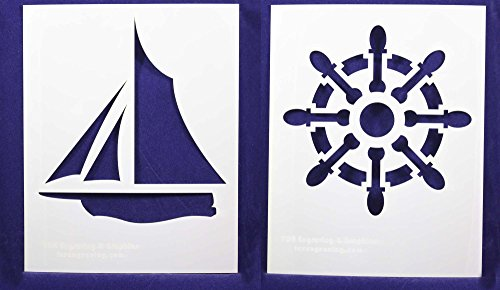 Sailing/Ship Wheel Stencils - 2 Piece Set - 8 x 10
