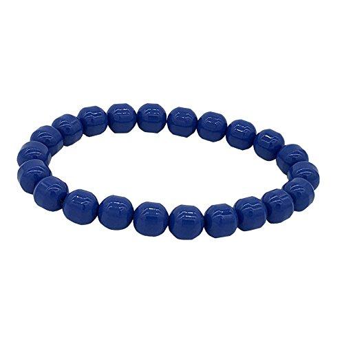 eleeColorful Power Health Ion Tourmaline Beads Stretch Bracelet Wristband Balance w/Box (Blue) ()