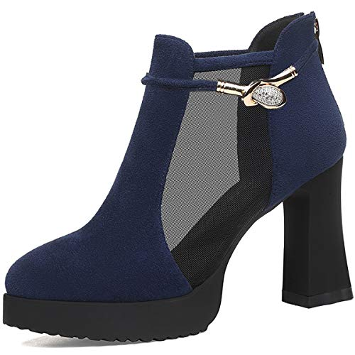 single style Work Women's Black shoes thick and heel shoes with leather bottom Autumn Ladies AJUNR heel shoes BXg1zzn