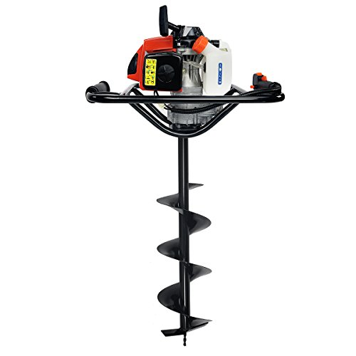 "XtremepowerUS Post Hole Digger w/ 8"" inch Auger Bit Set V-Type 63CC 2 Stroke Motor Gas Post Hole Digger Auger Fence Tree Plant (Digger + 8"" Bit)"
