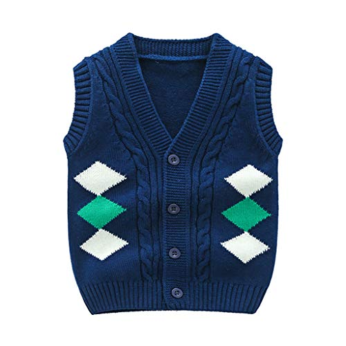 Wellwits Kids Boys Diamond Print Cable Knit Button Down Sweater Vests 2-8 Years