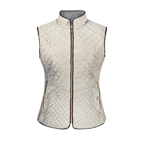 Beige Womens Quilted Vest (Tanbridge Quilted Lightweight Vest For Women Full Zip Jacket Vest Lined Leopard With 2 Button Clouser Pockets Beige X-Large)