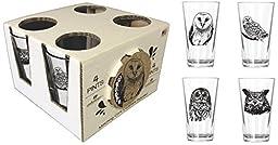 Corkology.com 411-1 Owls Pint Pack with Matching Coaster Set, Clear