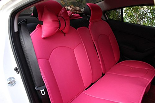 Best price for Charming Hot Pink Bowknot Universal Car Seat Covers Front and Rear Leather Seat Covers 13pcs (13PCS (include 4 neck pillow+1 waish cushion))