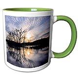 3dRose Dreamscapes by Leslie - Scenery - Beautiful sunset reflection - 15oz Two-Tone Green Mug (mug_292255_12)