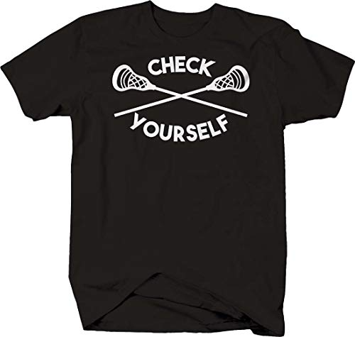 Check Yourself Bold Lacrosse Sports Field Crosse Stick Contact Tshirt 3XL Black