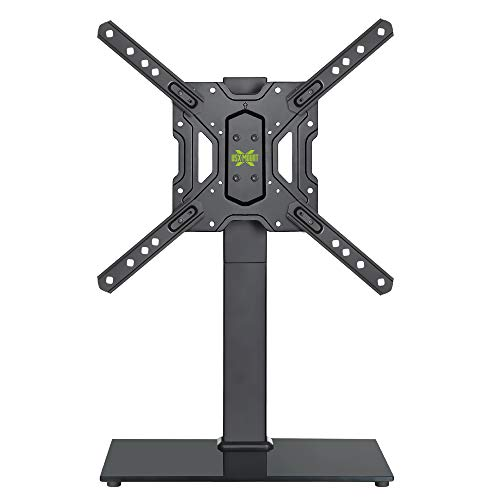 (USX MOUNT TV Base with Swivel Mount for 26-55 Inch LCD LED Flat Screen TVs, Tabletop TV Stand with Tempered Glass Base, Height Adjustable, Including Cable Management)