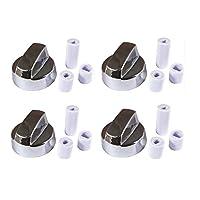 4YourHome C - Perilla de control universal, genérica, con cromo plateado, paquete de 4 con 12 adaptadores