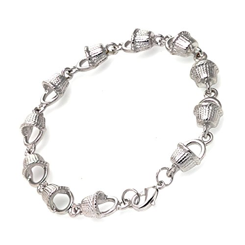 Cape Cod Jewelry-CCJ Nantucket Basket Link Chain SilverTone Bracelet 7.5