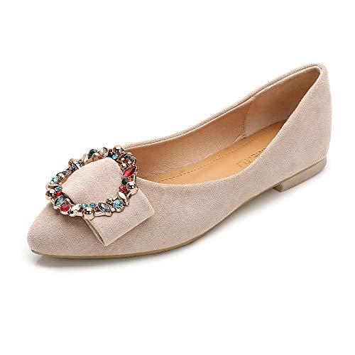 (Wollanlily Women's Pointy Toe Buckle Ballet Flats Rhinestone Comfort Slip On Walking Flats Shoes(9.5 B(M) US,Beige))
