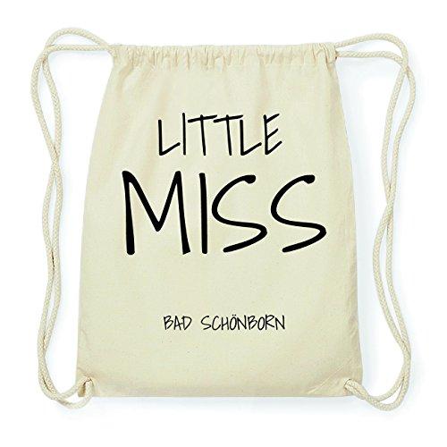 JOllify BAD SCHÖNBORN Hipster Turnbeutel Tasche Rucksack aus Baumwolle - Farbe: natur Design: Little Miss bXBTfNc