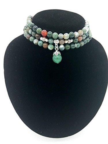 AMBY Buddhist Prayer Beads • Tibetan Mala Necklace • 6mm Healing Stones Bracelet • Chakra Jewelry for Meditation • Natural Quartz Crystal Wrap Bracelet Necklace (Mixed color)
