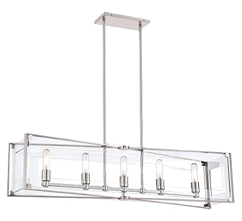 Polished Nickel 5 Light Linear Pendant from the Crystal Clear