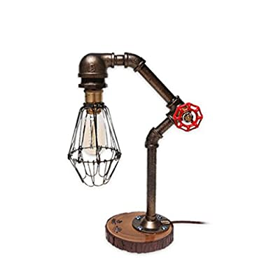 LQQGXL Industrial retro style rust robotic plumbing desk desk lamp with red valve handle and switch living room LED lamp Simple lamp