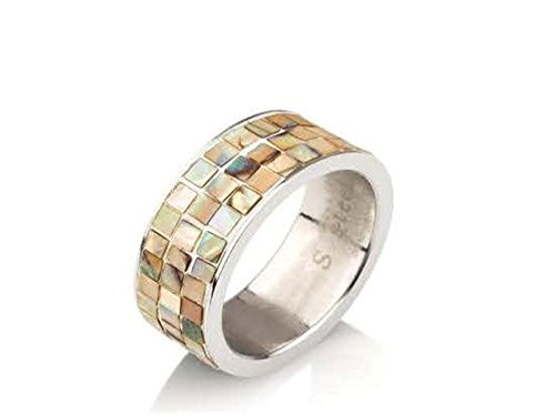 Stainless Steel Rings For Women & Men Two Rows of Square Brown Stones Fashion Ring (9) (Two Row Stainless Steel Ring)