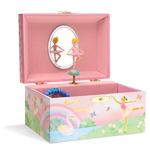 Jewelkeeper Musical Jewelry Box With Spinning Ballerina (Rainbow And Gold Foil Design)